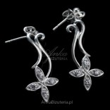 Silver earrings with white cubic zirconia