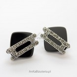 Silver earrings with marcasites and onyx