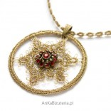 Gold pendant FLOWER-burgundy on chain with tatting