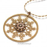 Pendant FLOWER beige on a chain with tatting