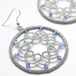Silver earrings with frywolitki SWAROVSKI crystals with tatting