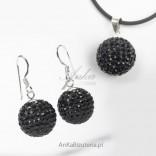 Silver Jewelry Set Swarowski black