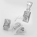 Silver Set - 2 in 1 - earrings, pendant with cubic zirconia.