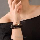 Kobieca, elegancka srebrna bransoletka z kwarcem dymnym Lewanowicz