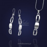 Silver jewelry set. Long earrings and pendant.