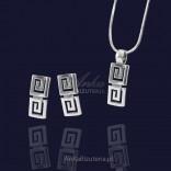 Silver set of pendant, earrings with a Greek pattern.