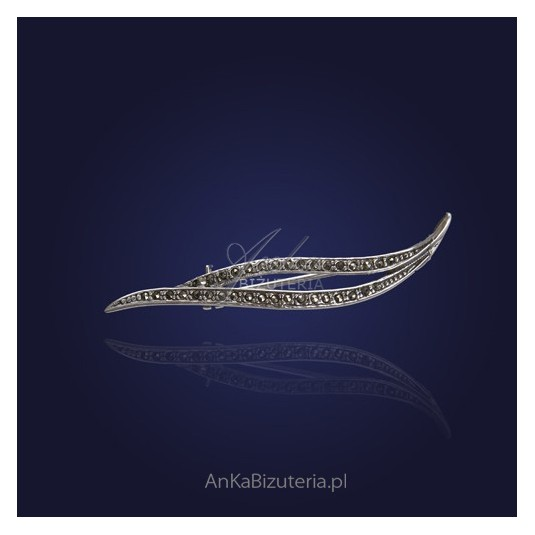 Srebrna Biżuteria-Broszka markazytami - mała.