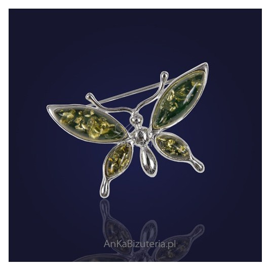 Srebrna Broszka z zielonym bursztynem-Motyl