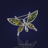 Silver Brooch with green amber-butterfly