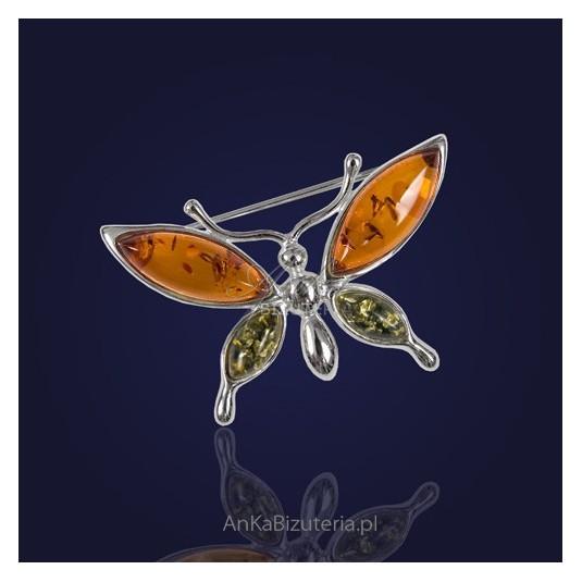 Broszka srebrna z bursztynem kolorowym -Motyl