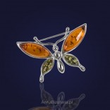 Silver brooch with colored amber - Butterfly