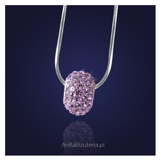Wisiorek srebrny z kryształami Swarovskiego-lawenda.