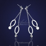 Earrings silver circles on two chains.