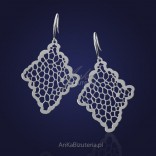 "Original Jewelry - Silver earrings with laser cut ""falling leaves""."