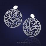 """Silver laser earrings - """"snowflakes""""."""