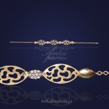 Beautiful silver bracelet with gold-plated cubic zirconia.