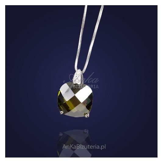 Biżuteria artystyczna: Śliczny wisior srebrny z cyrkonią-zielony.