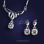 Delicate silver necklace with cubic zirconia. FREE earrings!
