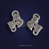 "Unique Silver Earrings with marcasites - ""three hearts"""