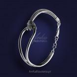 Original Jewelry-Silver bracelet on a leather strap.