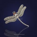 Biżuteria srebrna-Broszka z markazytami-ważka