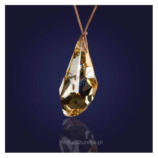 """Duży kryształ Swarovski na rzemieniu w kolorze: Golden Shadow - """"Złoty Cień"""""""