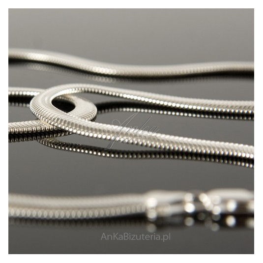Naszyjnik/łańcuszek srebrny kaszmirowy Żmija o długości 50cm.