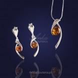 A modern delicate silver set with amber.