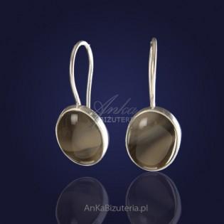 Oryginalne wykonane ręcznie srebrne kolczyki z krzemienia pasiastego.