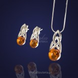 Jewelry set - Natural amber with silver.