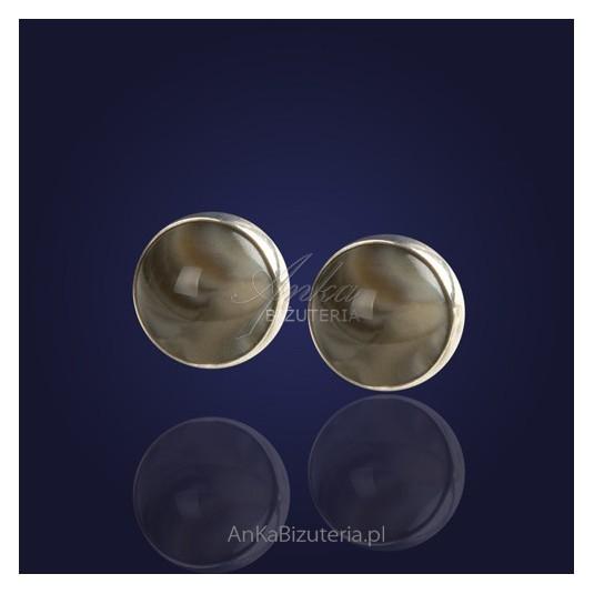 Ręcznie wykonane srebrne kolczyki z krzemienia pasiastego .