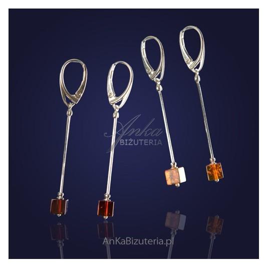 Kolczyki srebrne-Kosteczka bursztnowa w połączeniu ze srebrem-w dwóch kolorach: koniak i wiśnia.