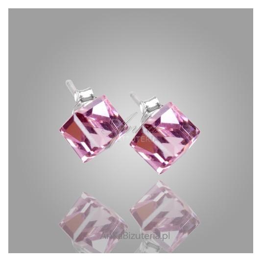 Kolczyki-Różowe kosteczki srebrne  kryształ Swarovski.