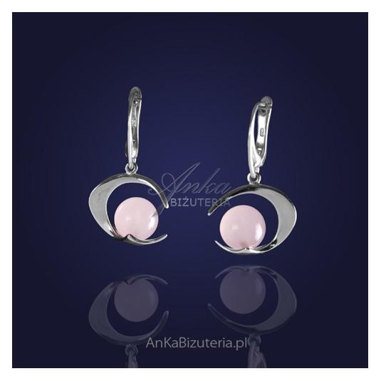 Srebrna Biżuteria - Kolczyki srebrne w perfekcyjnym połączeniu z kwarcem różowym.