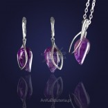 Quintessence of Chic - set: pendant and silver earrings with amethyst.