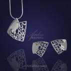 Kobiecy, elegancki srebrny komplet: wisior i kolczyki .