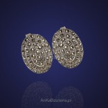 Oval silver earrings with marcasites.