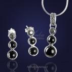 Komplet srebrny z markazytami, onyksem i hematytem, który spodoba się minimalistkom .