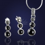 A silver set with marcasites and onyx