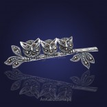 """""""Owls on a twig"""" - silver brooch with marcasites."""