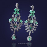 Elegant, cascading silver earrings with marcasites and jadeite never go out of fashion.
