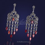 Oriental silver earrings with marcasites and grenades.