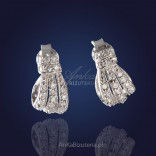 """""""Bows"""" - extraordinary, elegant silver earrings with cubic zirconia."""