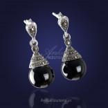 """Silver jewelry """"Desirable and Loved"""" - timeless, elegant earrings with onyx and marcasites."""