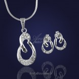 Stylish silver set with silver zircon.