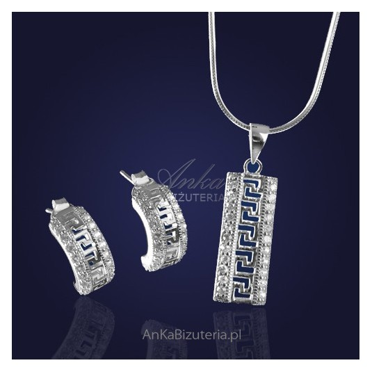 "Srebrna biżuteria: ""Artemis"" - cudny kompklecik srebrny z cyrkoniami."