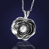 "Silver jewelry pendant: ""SUMMER SONG"" - beautiful white pearl wrapped with rose petals."