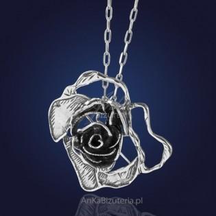 Srebrna biżuteria------ FIRST  LADY--------   - Broszka / Wisior - srebrna róża.