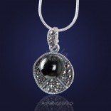 Jewelry. Casual silver pendant with onyx and marcasites.