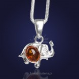 "Silver Jewelry - ""Happy Elephant Showered in the Baltic"" - silver with amber."